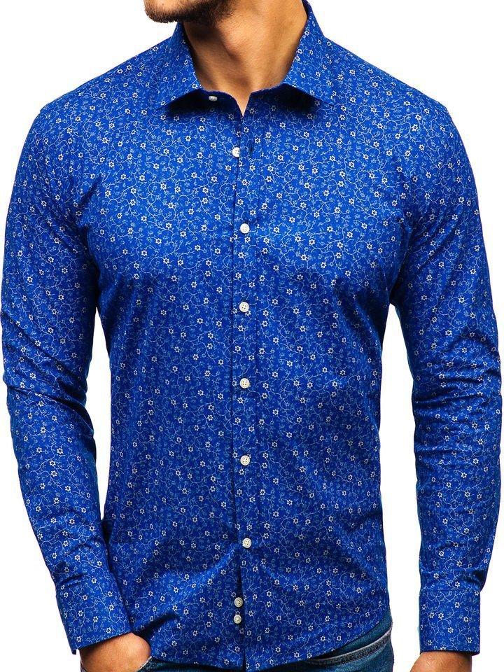 e655198d039b Modrá pánska vzorovaná košeľa s dlhými rukávmi BOLF 201G64