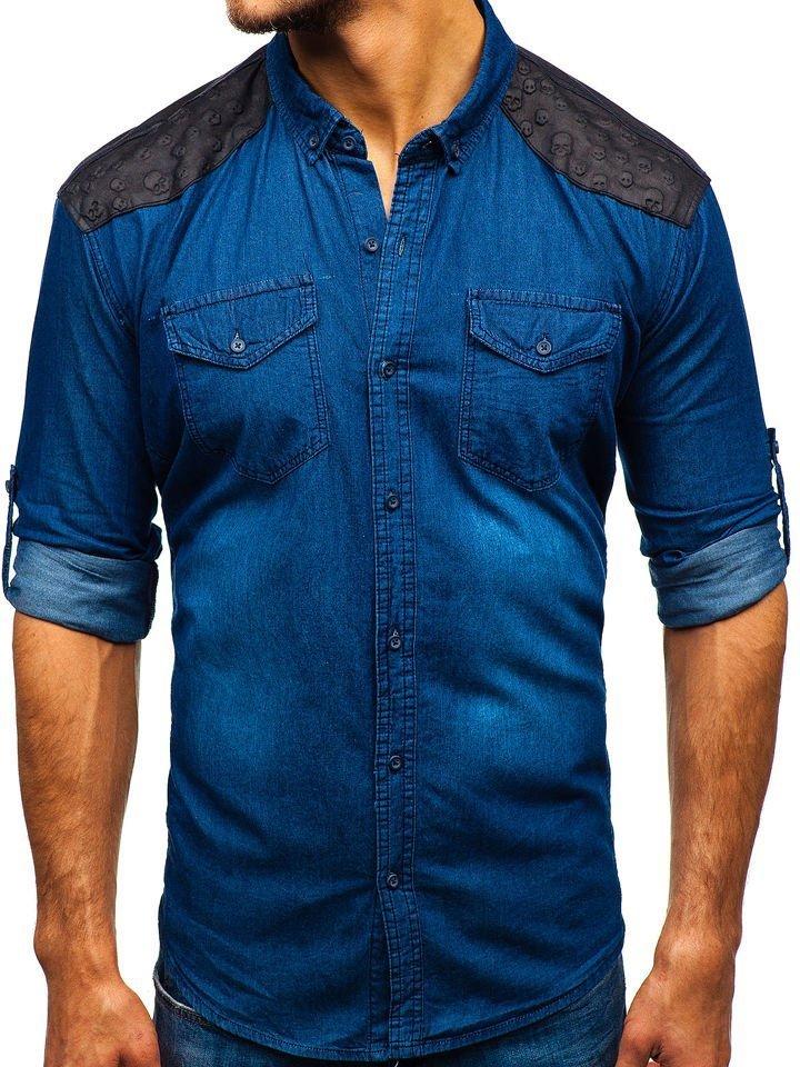 5036635b11db Modrá pánska vzorovaná riflová košeľa s dlhými rukávmi BOLF 0517