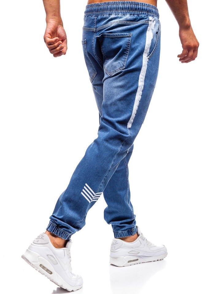 68f2a7022946 Modré pánske riflové jogger nohavice BOLF 2055