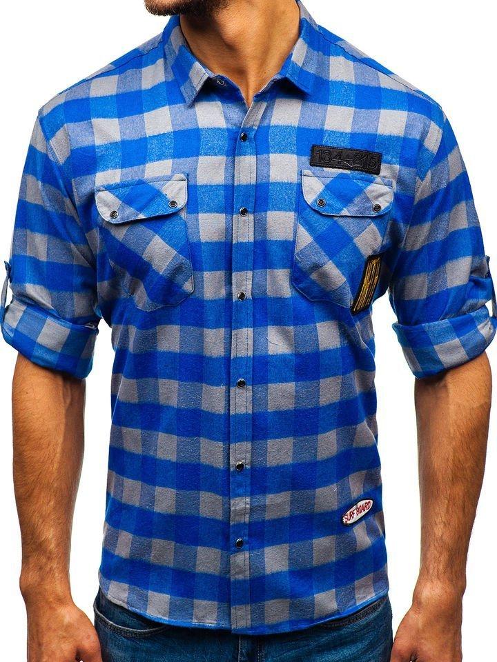bbe5e27c213e Modro-šedá pánska flanelová košeľa s dlhými rukávmi BOLF 2503