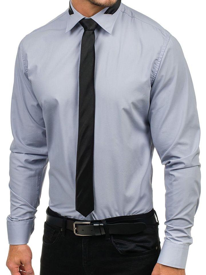 899195f7bb36 Šedá pánska elegantná košeľa s dlhými rukávmi BOLF 4714-1