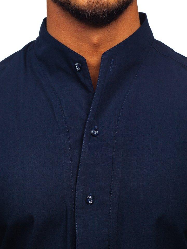 a6932d8b80c9 Tmavomodrá pánska košeľa s dlhými rukávmi BOLF 5702