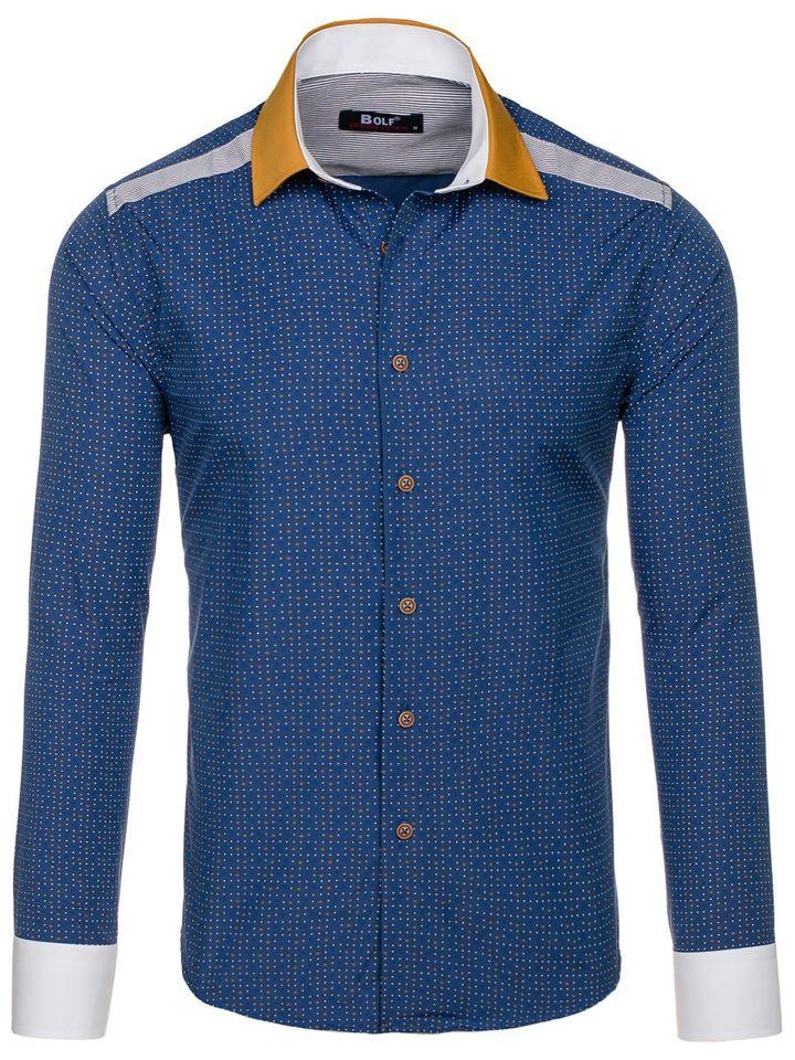 ebb3edf342be Tmavomodrá pánska vzorovaná košeľa s dlhými rukávmi BOLF 8805