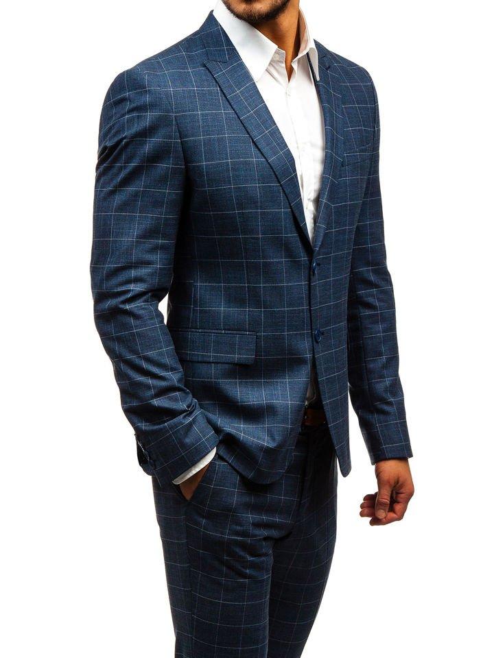 0dc0c26613e5 Tmavomodrý pánsky károvaný oblek s vestou BOLF 18200