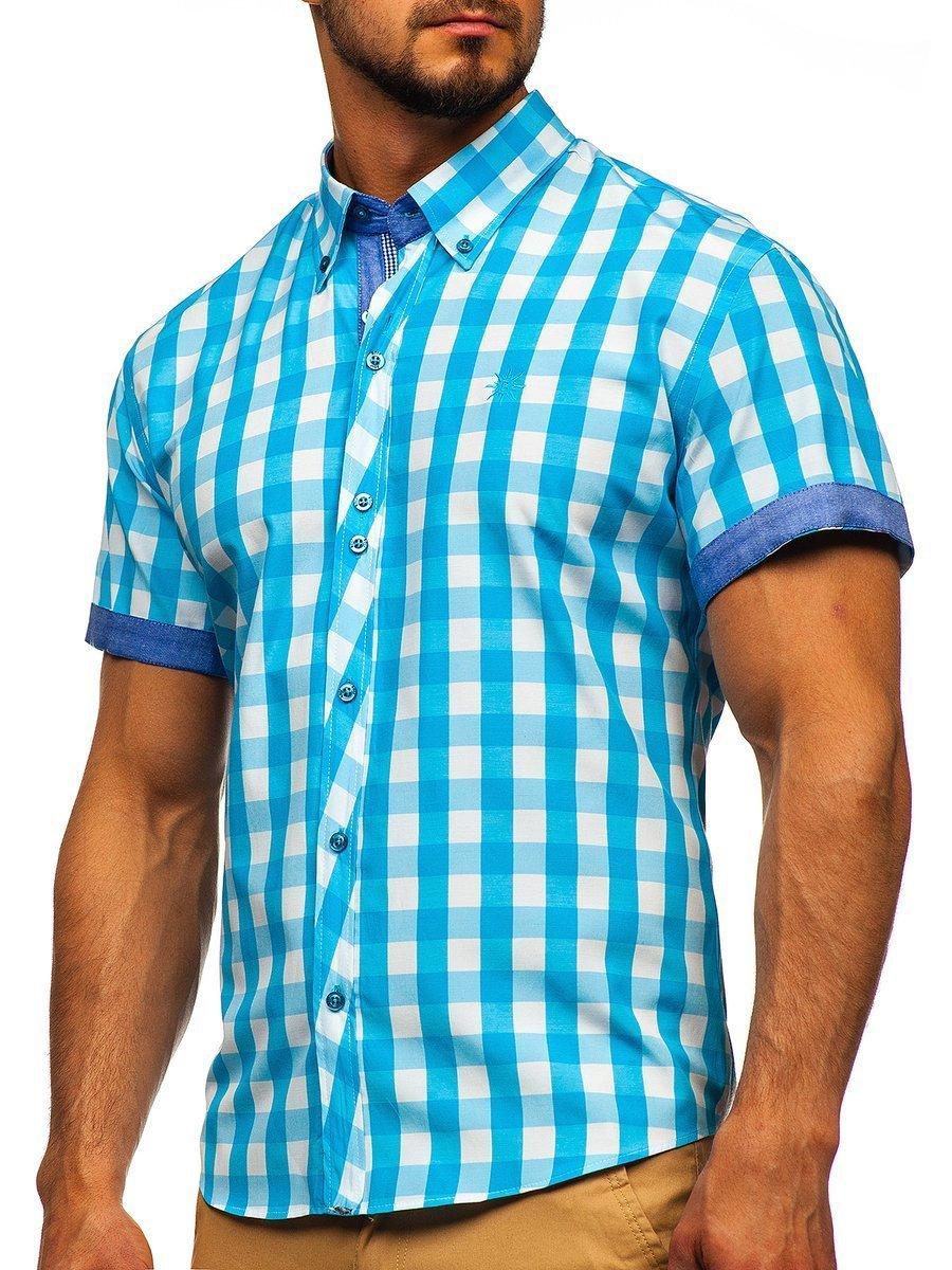 3551ed62684f Tyrkysová pánska károvaná košeľa s krátkymi rukávmi BOLF 6522