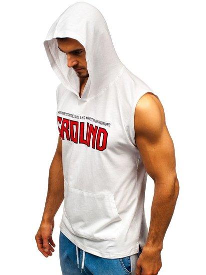 Biele pánske tričko s potlačou a kapucňou BOLF 2859