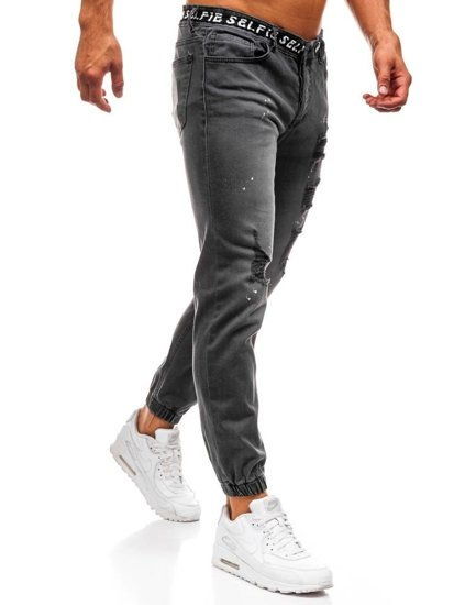 Antracitové pánske riflové jogger nohavice BOLF 2042