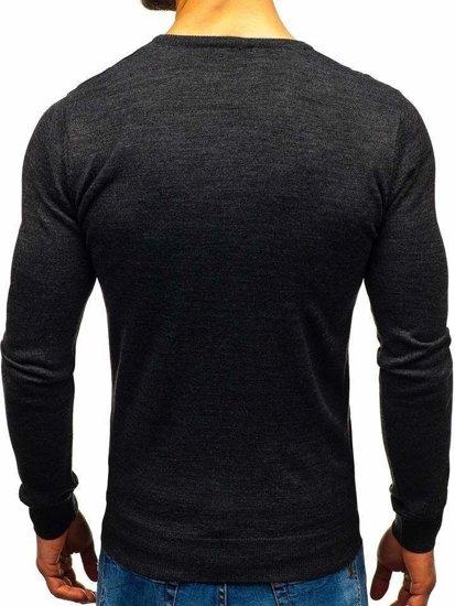 Antracitový pánsky sveter s výstrihom do V Bolf2200