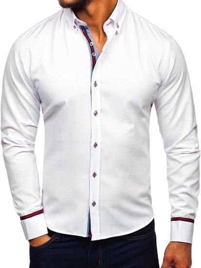 Biela pánska elegantá košeľa s dlhými rukávmi BOLF 5801-A