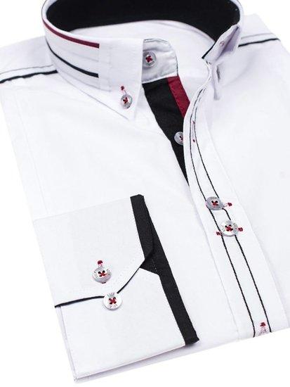 Biela pánska elegantná košeľa s dlhými rukávmi BOLF 4707