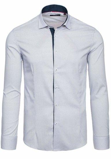 Biela pánska elegantná košeľa s dlhými rukávmi BOLF 7185
