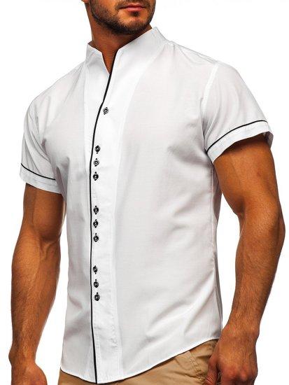 Biela pánska košeľa s krátkymi rukávmi BOLF 5518