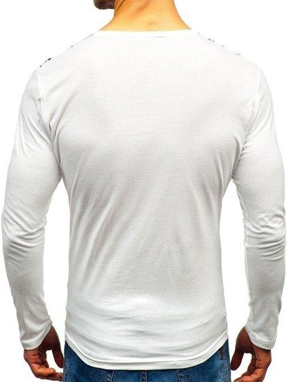 Biele pánske tričko s dlhými rukiávmi s potlačou BOLF 1213-A