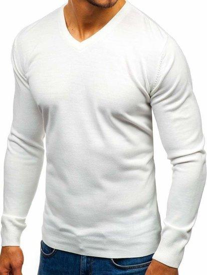 Biely pánsky sveter s výstrihom do V BOLF 2200