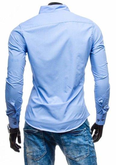 Blankytná pánska košeľa s dlhými rukávmi BOLF 5720-1