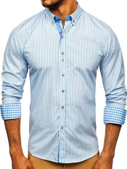 Blankytná pánska prúžkovaná košeľa s dlhými rukávmi Bolf 9711