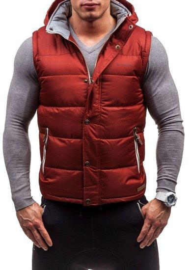 Bordová pánska vesta s kapucňou Bolf K020
