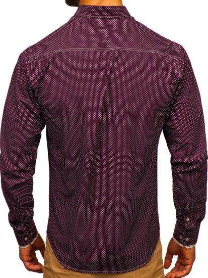 Bordová pánska vzorovaná košeľa s dlhými rukávmi Bolf 9707