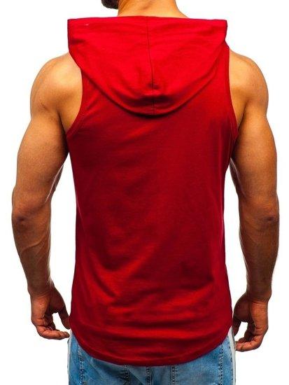 Bordové pánske tričko bez rukávov s potlačou a kapucňou BOLF 1280