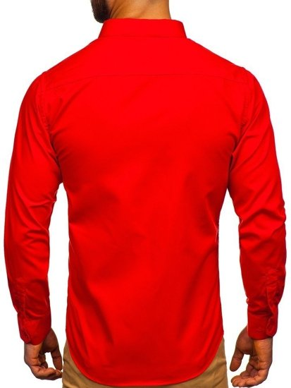 Červená pánska elegantná košeľa s dlhými rukávmi Bolf 0001