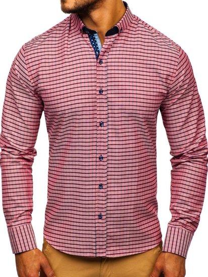 Červená pánska károvaná košeľa s dlhými rukávmi Bolf 9709