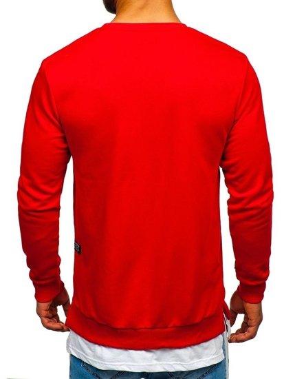Červená pánska mikina bez kapucne s potlačou BOLF 11116