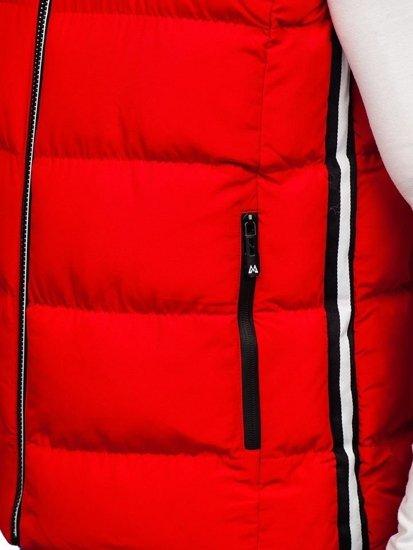 Červená pánska prešívaná vesta s kapucňou Bolf 5898