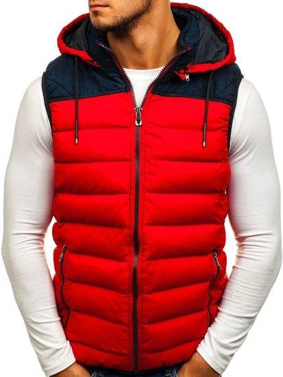 Červená pánska vesta s kapucňou Bolf 5371-A
