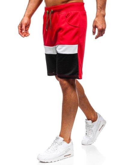 Červené pánske teplákové kraťasy BOLF 81017