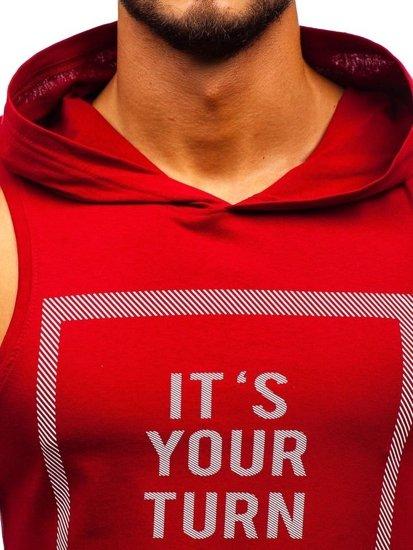 Červené pánske tričko bez rukávov s potlačou a kapucňou BOLF 1280