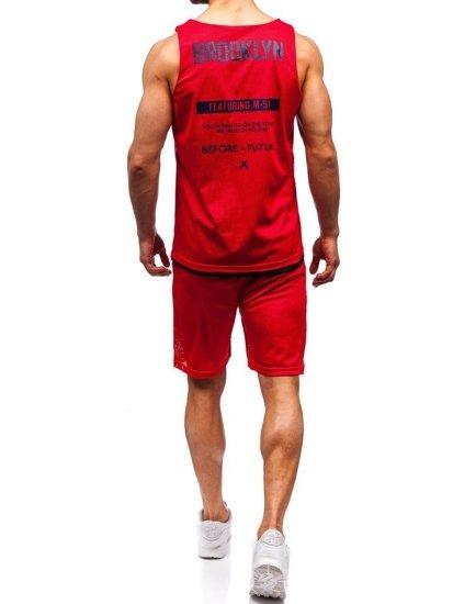 Červený pánsky komplet: tričko + kraťasy  BOLF 100778