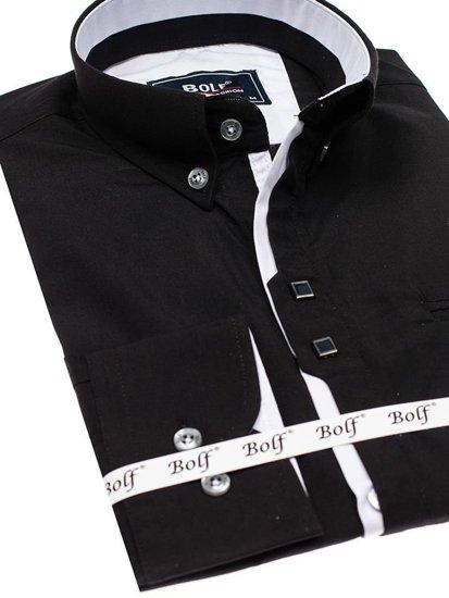 Čierna pánska elegantá košeľa s dlhými rukávmi BOLF 7720