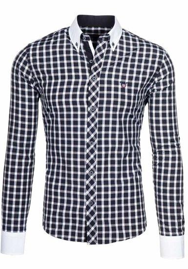 Čierna pánska elegantná kockovaná košeľa s dlhými rukávmi BOLF 5737
