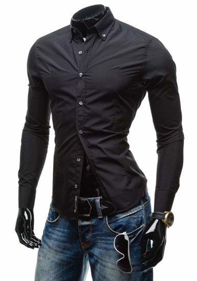 Čierna pánska elegantná košeľa s dlhými rukávmi BOLF 1703-1