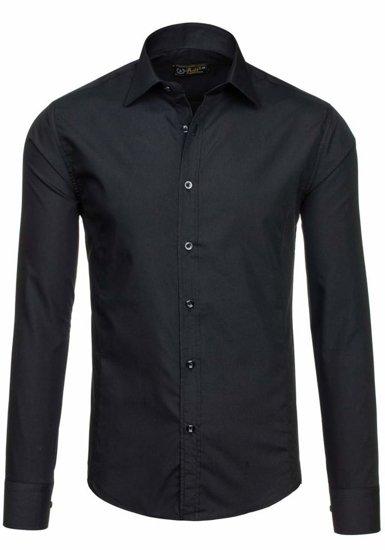 Čierna pánska elegantná košeľa s dlhými rukávmi BOLF 1703