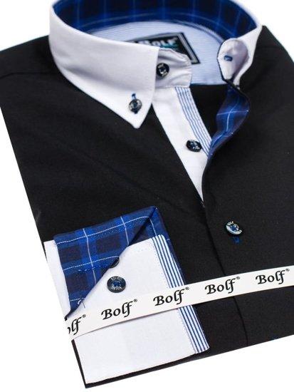 Čierna pánska elegantná košeľa s dlhými rukávmi BOLF 5766-1