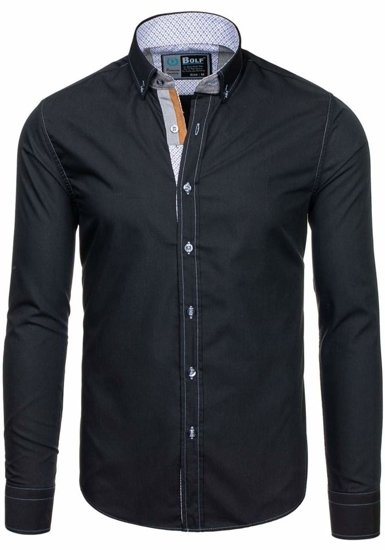 Čierna pánska elegantná košeľa s dlhými rukávmi BOLF 5777