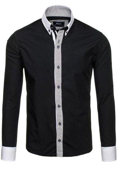 Čierna pánska elegantná košeľa s dlhými rukávmi BOLF 6946