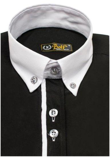 Čierna pánska elegantná košeľa s dlhými rukávmi Bolf 5726