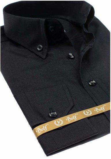 Čierna pánska elegantná košeľa s dlhými rukávmi Bolf 5821