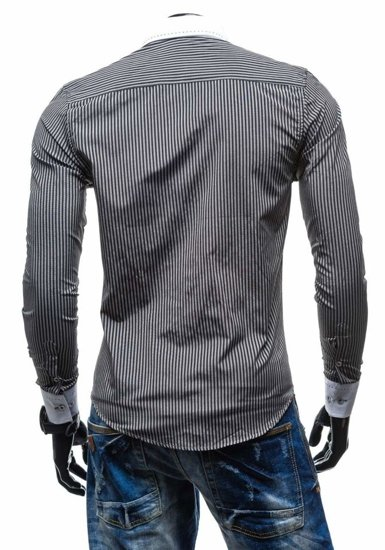 Čierna pánska elegantná pruhovaná košeľa s dlhými rukávmi BOLF 4784-1