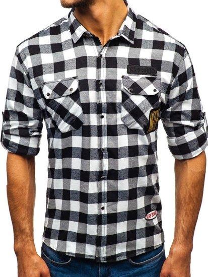 Čierna pánska flanelová košeľa s dlhými rukávmi BOLF 2503
