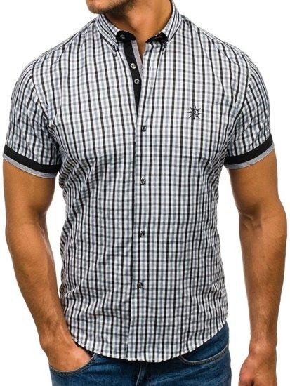 Čierna pánska károvaná košeľa s krátkymi rukávmi BOLF 4510