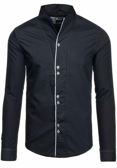 Čierna pánska košeľa s dlhými rukávmi BOLF 5720-1