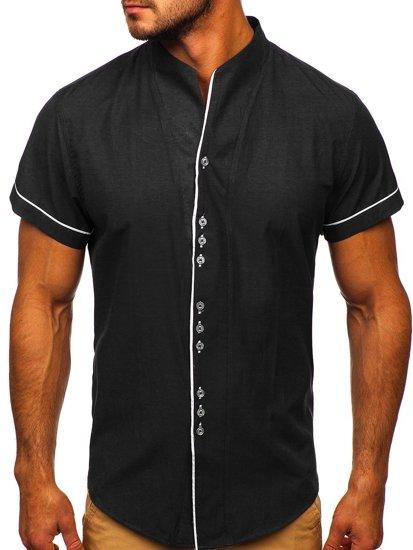 Čierna pánska košeľa s krátkymi rukávmi BOLF 5518