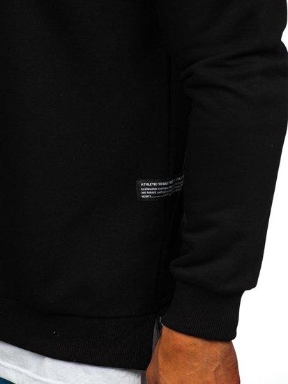Čierna pánska mikina bez kapucne s potlačou BOLF 11116