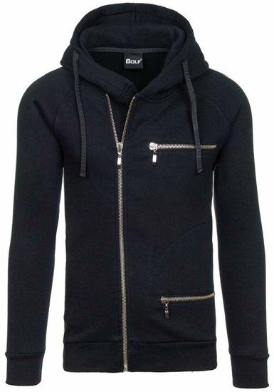 Čierna pánska mikina na zips s kapucňou BOLF 41S-ZM