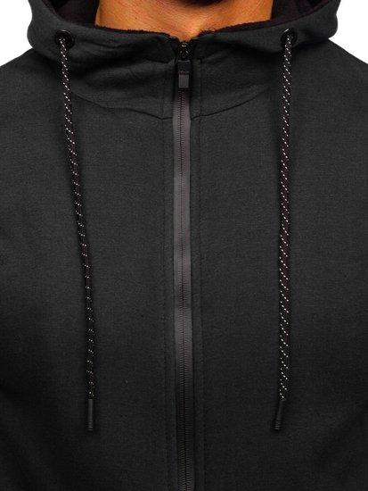 Čierna pánska mikina na zips s kapucňou Bolf DD02