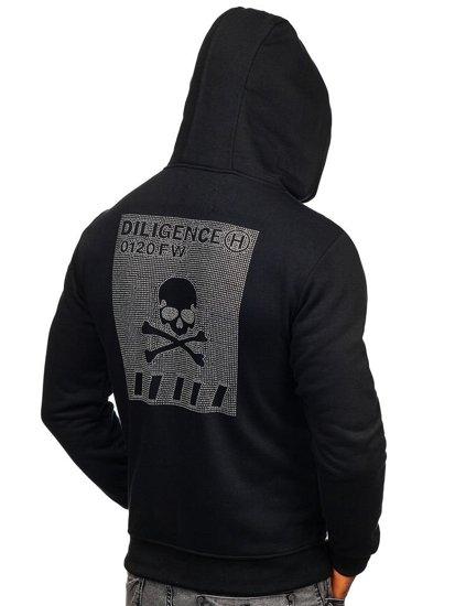 Čierna pánska mikina s kapucňou a potlačou Bolf 33101