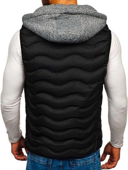 Čierna pánska vesta s kapucňou BOLF 5801